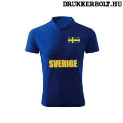 Sverige feliratos galléros póló - svéd szurkolói ingnyakú póló (kék)