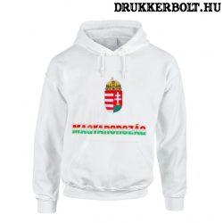 Hungary vagy Magyarország trikolor feliratos kapucnis gyerek pulóver (fehér) - magyar válogatott pulcsi