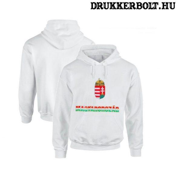 Hungary vagy Magyarország feliratos kapucnis gyerek pulóver (fehér, trikolor felirat) - magyar válogatott pulcsi