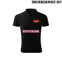 Deutschland feliratos galléros póló - Németország szurkolói ingnyakú póló (fekete)