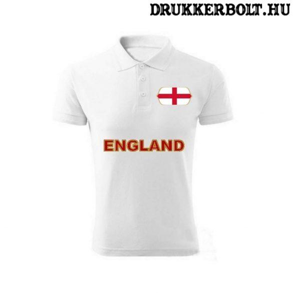 England feliratos galléros póló - angol szurkolói ingnyakú póló (fehér)