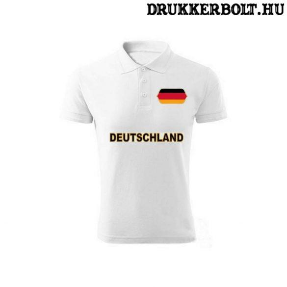 Deutschland feliratos galléros póló - Németország szurkolói ingnyakú póló (fehér)