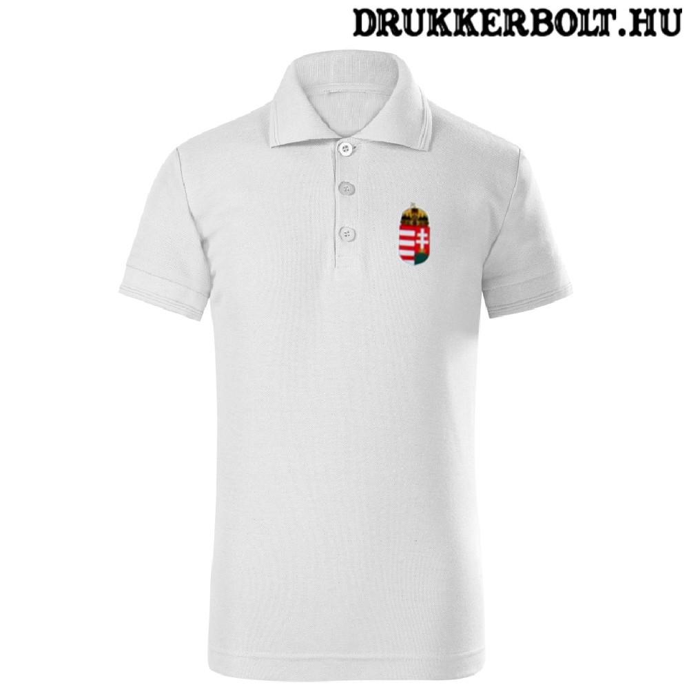 b934be1ab8 Hungary / Magyarország feliratos galléros gyerek póló - Magyarország  szurkolói ingnyakú póló (fehér)
