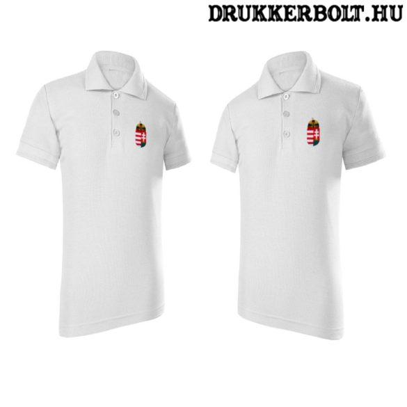 Hungary / Magyarország feliratos galléros gyerek póló - Magyarország szurkolói ingnyakú póló (fehér)