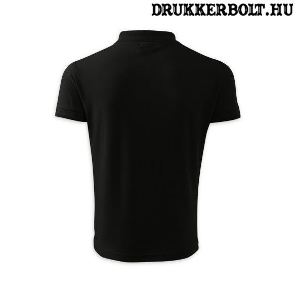 Hungary feliratos galléros póló - Magyarország szurkolói ingnyakú póló (fekete)