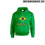 Brasil feliratos kapucnis pulóver (zöld) - brazil válogatott szurkolói pullover / pulcsi
