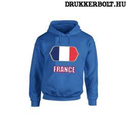 France feliratos kapucnis pulóver (kék) - francia válogatott szurkolói pullover / pulcsi