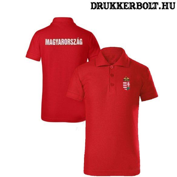 Hungary / Magyarország feliratos galléros gyerek póló - Magyarország szurkolói ingnyakú póló (piros)
