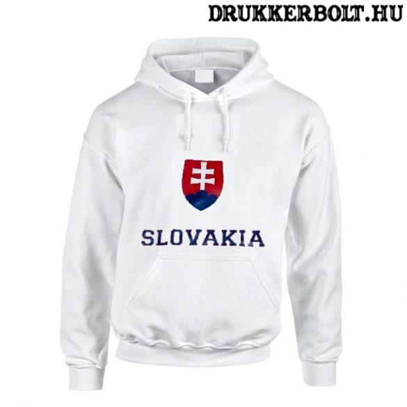 Slovakia feliratos kapucnis pulóver (fehér) - Szlovák válogatott pulcsi