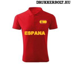 Espana / Spanyolország feliratos galléros póló - Spanyolország szurkolói ingnyakú póló (piros)