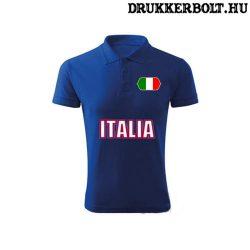 Italia feliratos galléros póló - olasz szurkolói ingnyakú póló (kék)