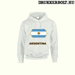 Argentina feliratos kapucnis pulóver (fehér) - argentin válogatott szurkolói pullover / pulcsi