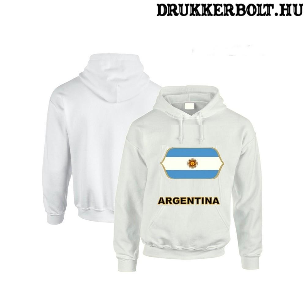 Argentina feliratos kapucnis pulóver (fehér) - argentin válogatott  szurkolói pullover   pulcsi 4174291831