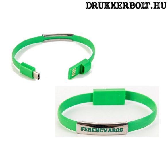 Fradi szilikon csuklópánt / karkötő USB töltővel - hivatalos Ferencváros termék