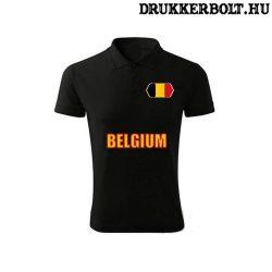 Belgium feliratos galléros póló - belga szurkolói ingnyakú póló (fekete)