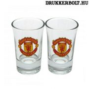 Manchester United felespohár szett - 2 db üveg kupicás pohár Red Devils címerrel