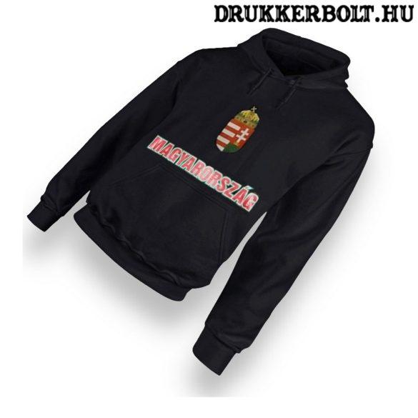 Magyarország feliratos kapucnis pulóver (fekete) - magyar válogatott pulcsi
