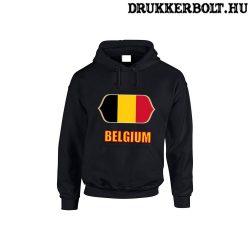 Belgium feliratos kapucnis pulóver (fekete) - belga válogatott szurkolói pullover / pulcsi