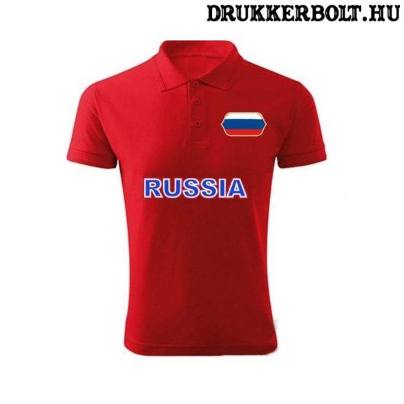 Russia feliratos galléros rövidujjú női póló - Oroszország szurkolói ingnyakú póló (piros)