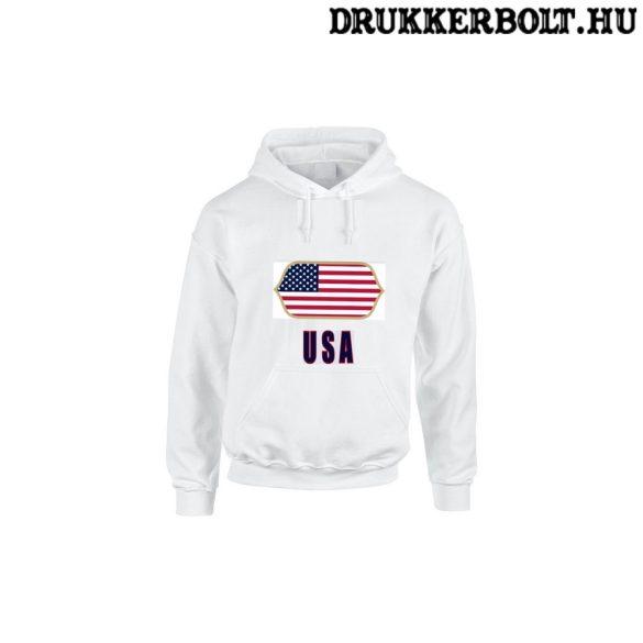 USA feliratos kapucnis pulóver (fehér) - USA válogatott szurkolói pullover / pulcsi