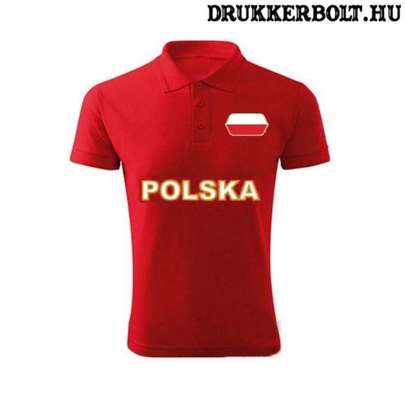 Polska / Lengyelország feliratos galléros póló - Lengyelország szurkolói ingnyakú póló (piros)