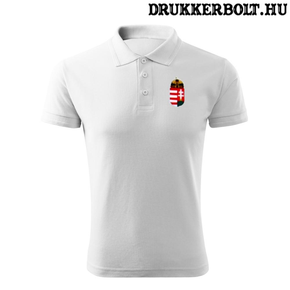 Hungary   Magyarország póló - Magyarország szurkolói ingnyakú   galléros  póló (fehér) c0ba8d0aa7