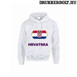 Hrvatska feliratos kapucnis pulóver (fehér) - horvát válogatott szurkolói pullover / pulcsi