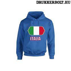 Italia feliratos kapucnis pulóver (kék) - olasz válogatott szurkolói pullover / pulcsi