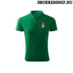 Hungary feliratos galléros rövidujjú póló - Magyarország szurkolói ingnyakú póló (zöld)