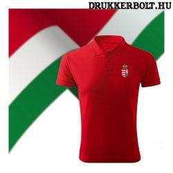 Hungary feliratos galléros rövidujjú póló - Magyarország szurkolói ingnyakú póló (piros)