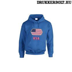 USA feliratos kapucnis pulóver (kék) - USA válogatott szurkolói pullover / pulcsi