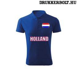 Holland feliratos galléros póló - holland szurkolói ingnyakú póló (kék)