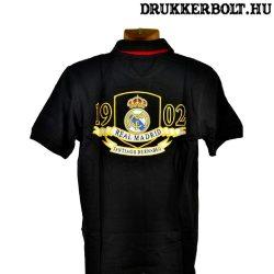 Real Madrid póló (fekete, galléros)  - eredeti Real Madrid ingnyakú póló