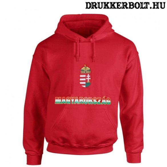 Hungary vagy Magyarország trikolor feliratos kapucnis pulóver (piros) - magyar válogatott pulcsi