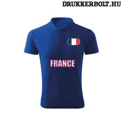 France feliratos galléros póló - francia szurkolói ingnyakú póló (kék)