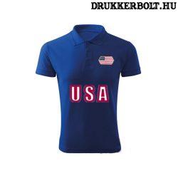 USA feliratos galléros póló - USA szurkolói ingnyakú póló (kék)